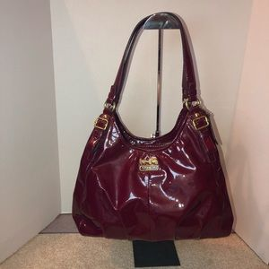 Coach Maggie Patent Leather Hobo Bag Berry